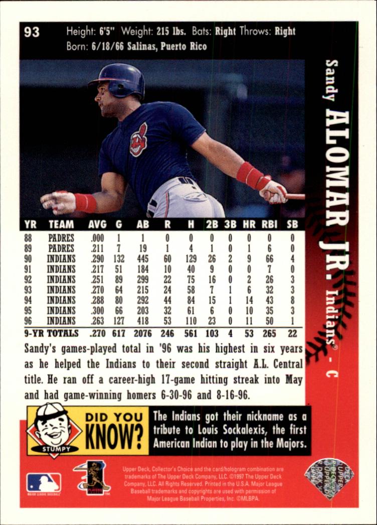 1997 Collector's Choice #93 Sandy Alomar Jr. back image