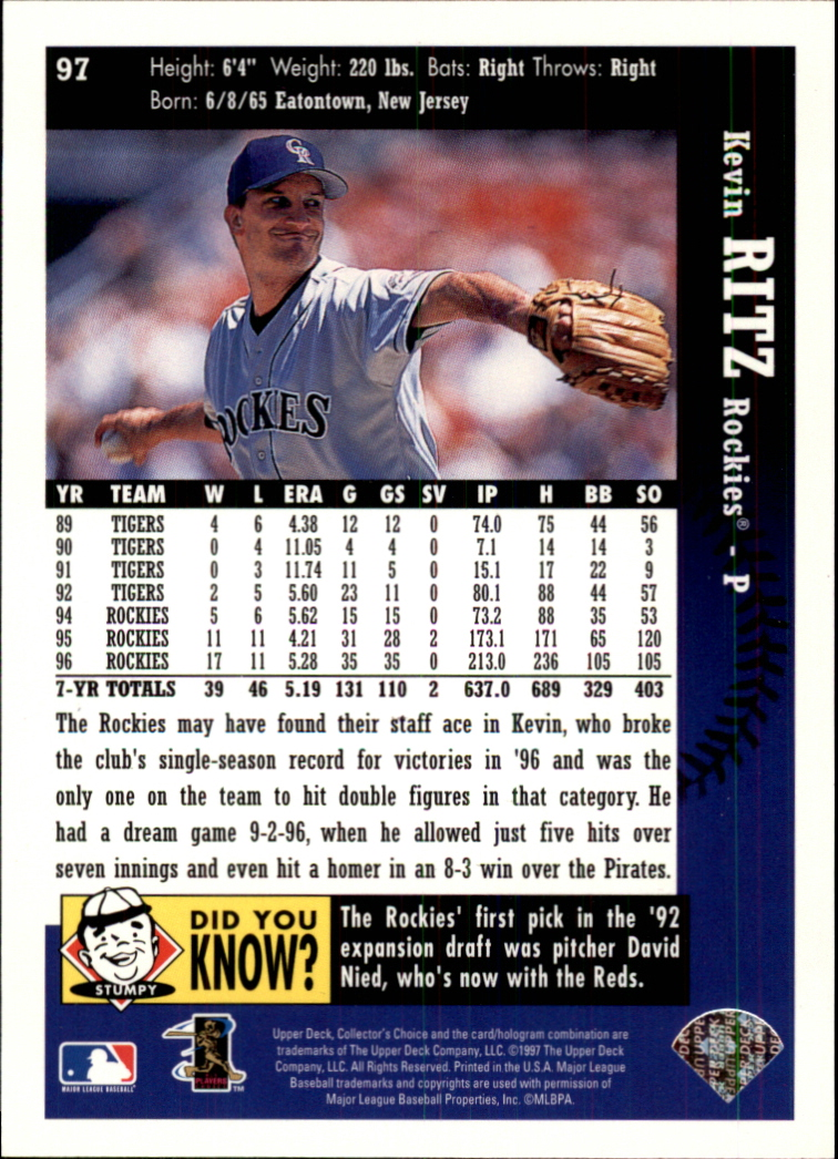 1997 Collector's Choice #97 Kevin Ritz back image