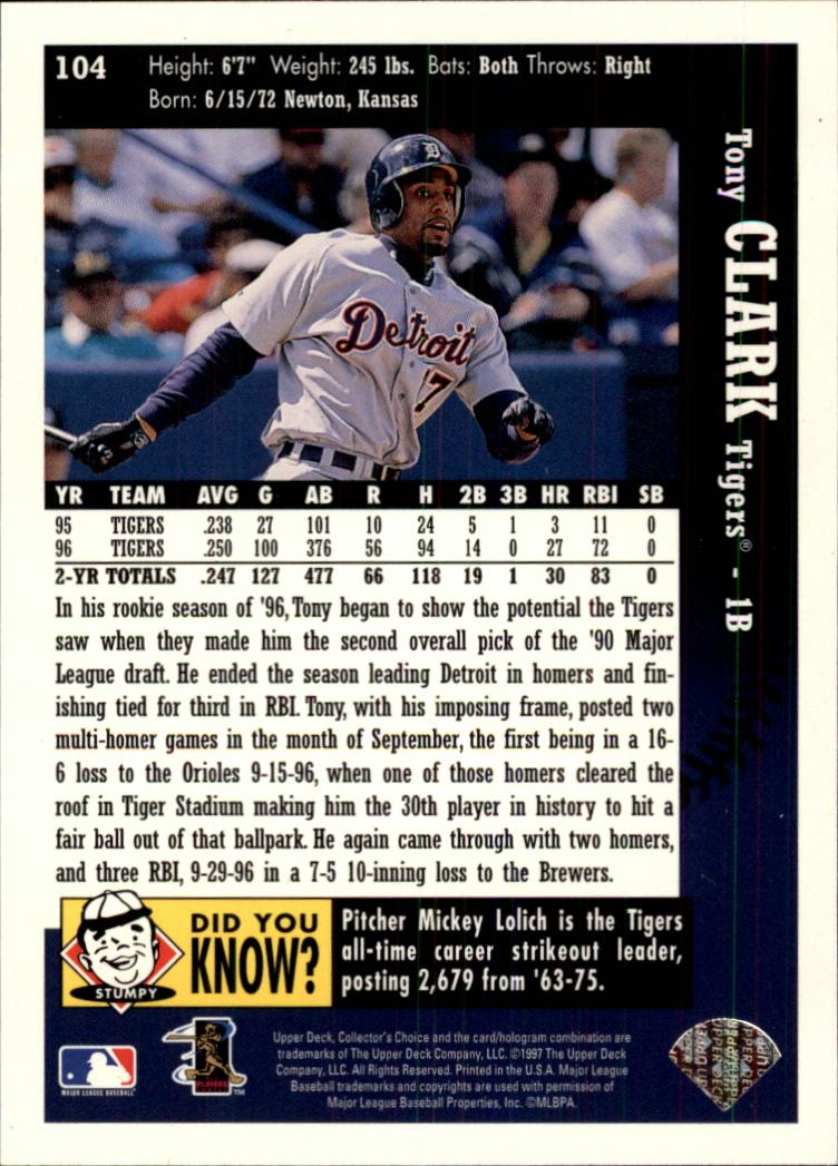 1997 Collector's Choice #104 Tony Clark back image