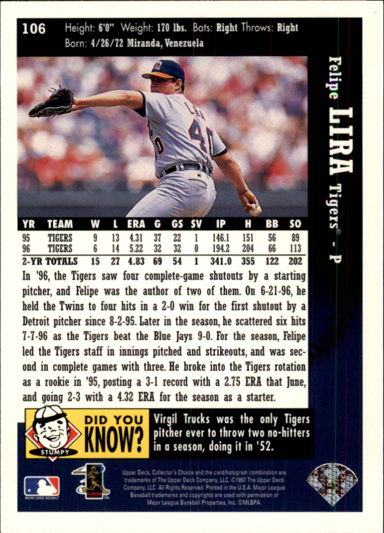 1997 Collector's Choice #106 Felipe Lira back image