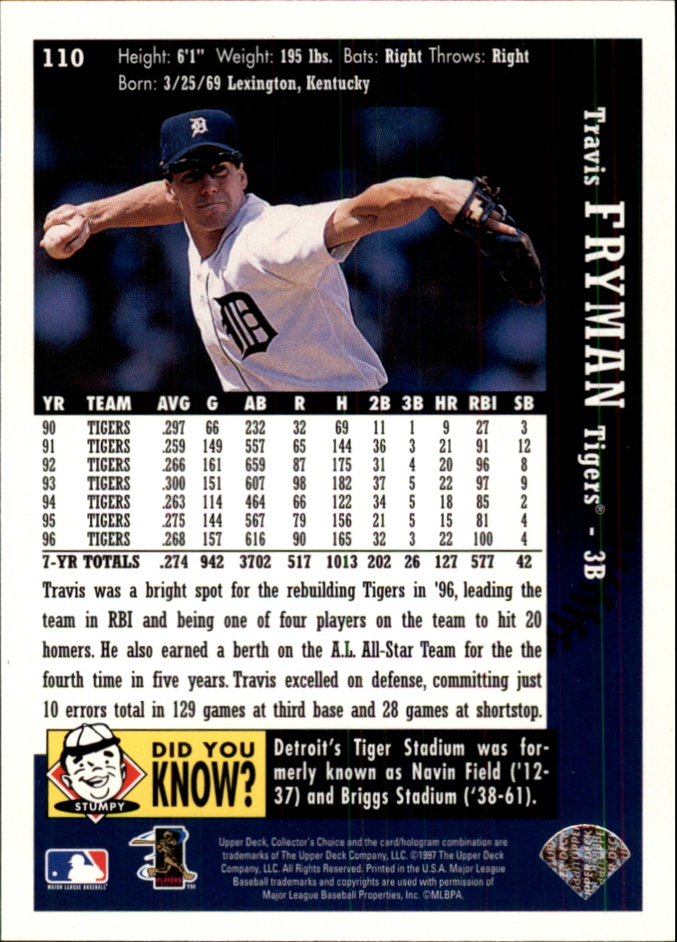1997 Collector's Choice #110 Travis Fryman back image
