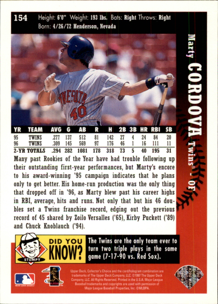 1997 Collector's Choice #154 Marty Cordova back image