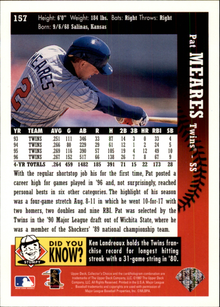 1997 Collector's Choice #157 Pat Meares back image