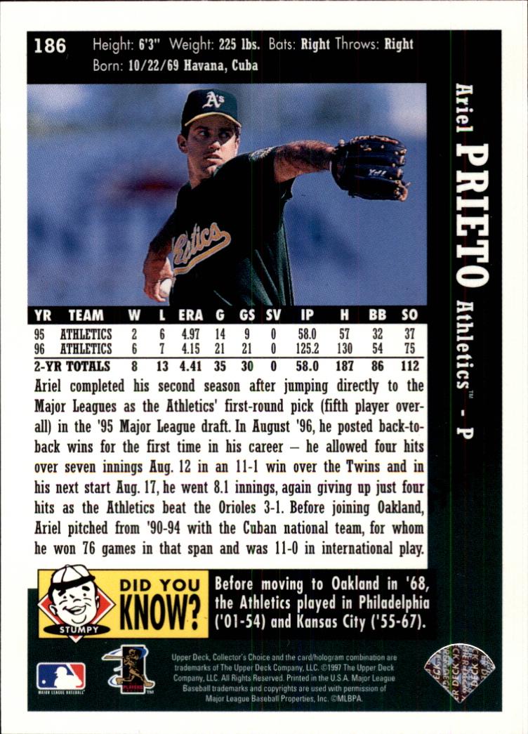 1997 Collector's Choice #186 Ariel Prieto back image