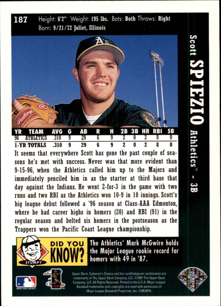 1997 Collector's Choice #187 Scott Spiezio back image