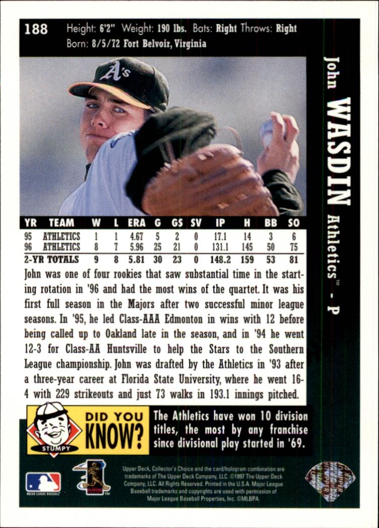 1997 Collector's Choice #188 John Wasdin back image