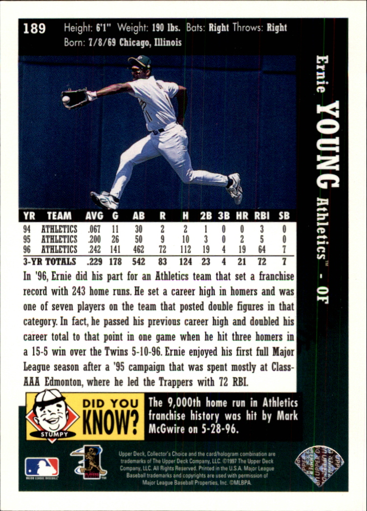 1997 Collector's Choice #189 Ernie Young back image