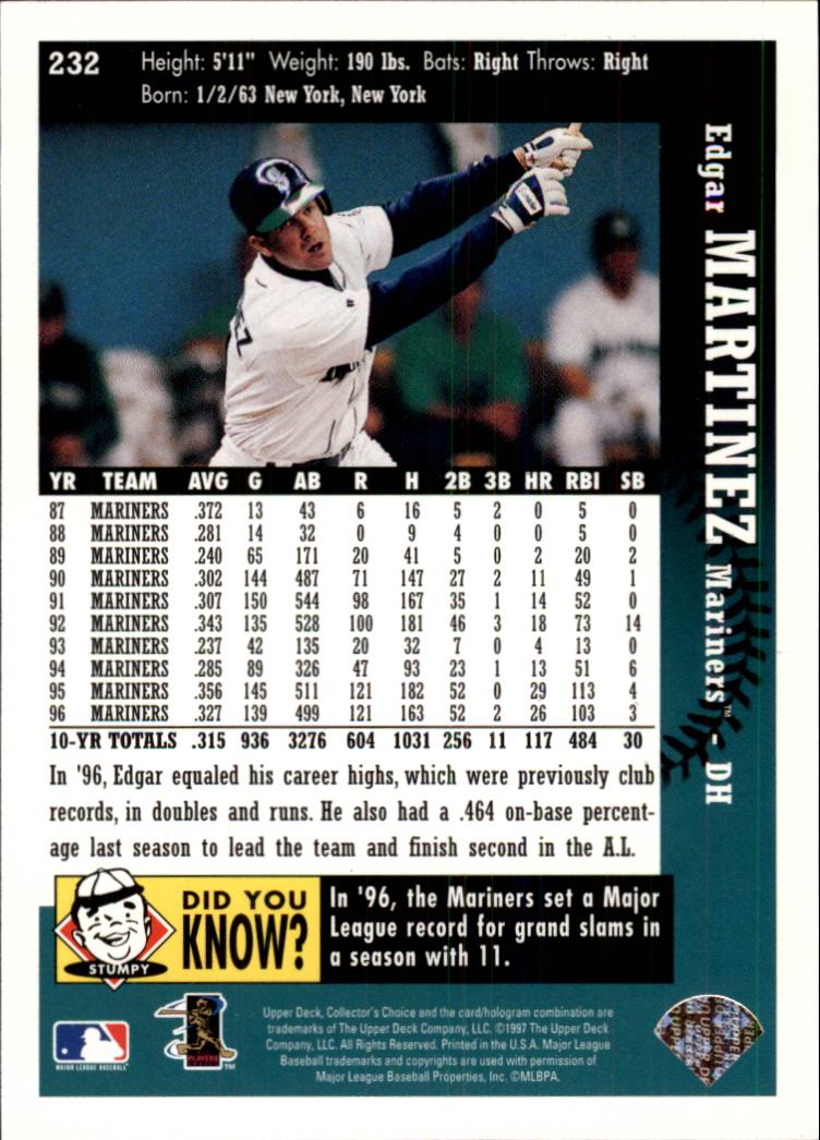 1997 Collector's Choice #232 Edgar Martinez back image