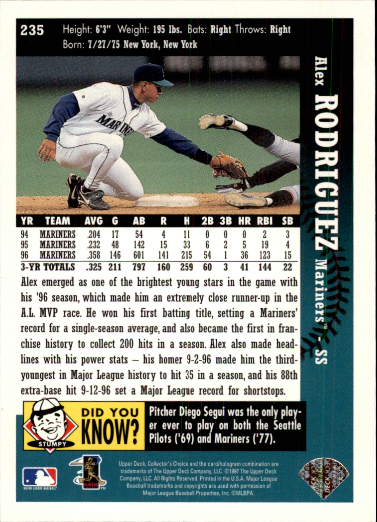 1997 Collector's Choice #235 Alex Rodriguez back image