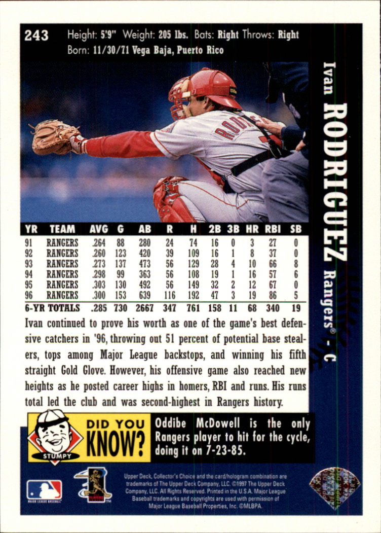1997 Collector's Choice #243 Ivan Rodriguez back image