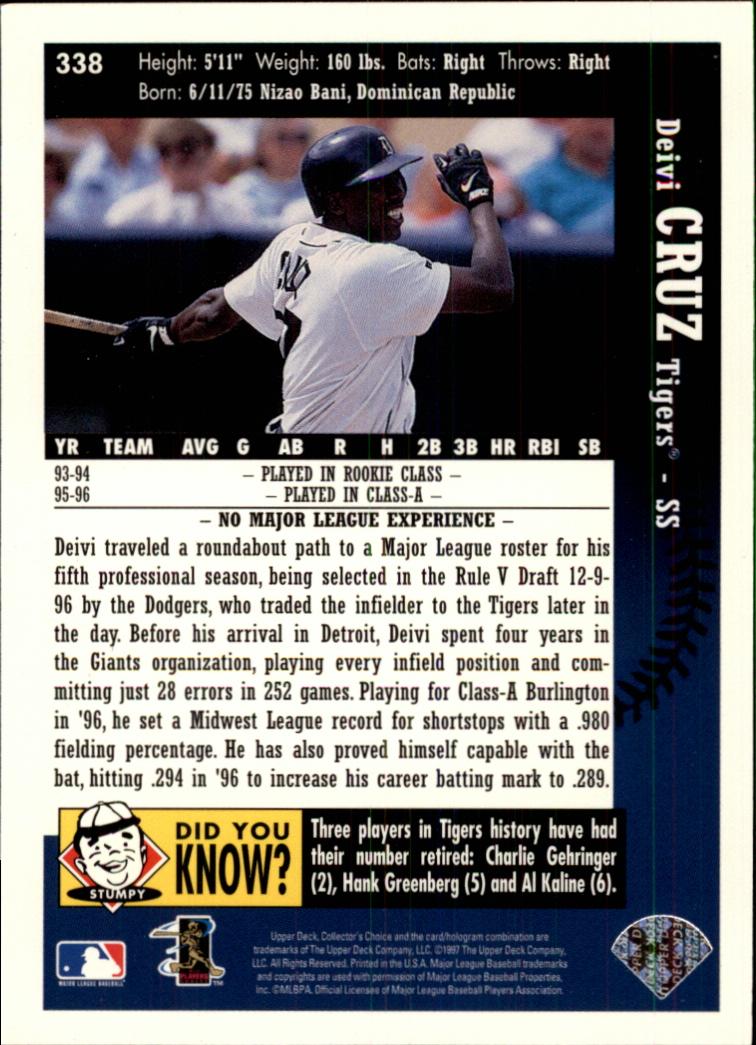 1997 Collector's Choice #338 Deivi Cruz RC back image