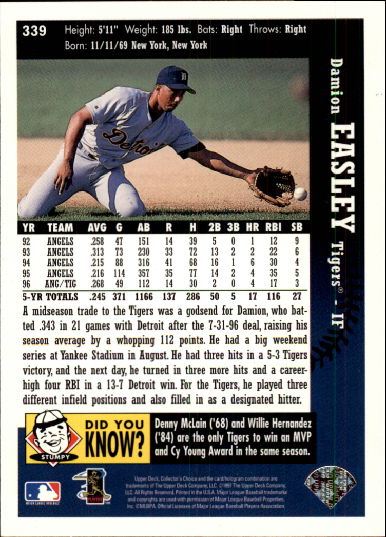 1997 Collector's Choice #339 Damion Easley back image
