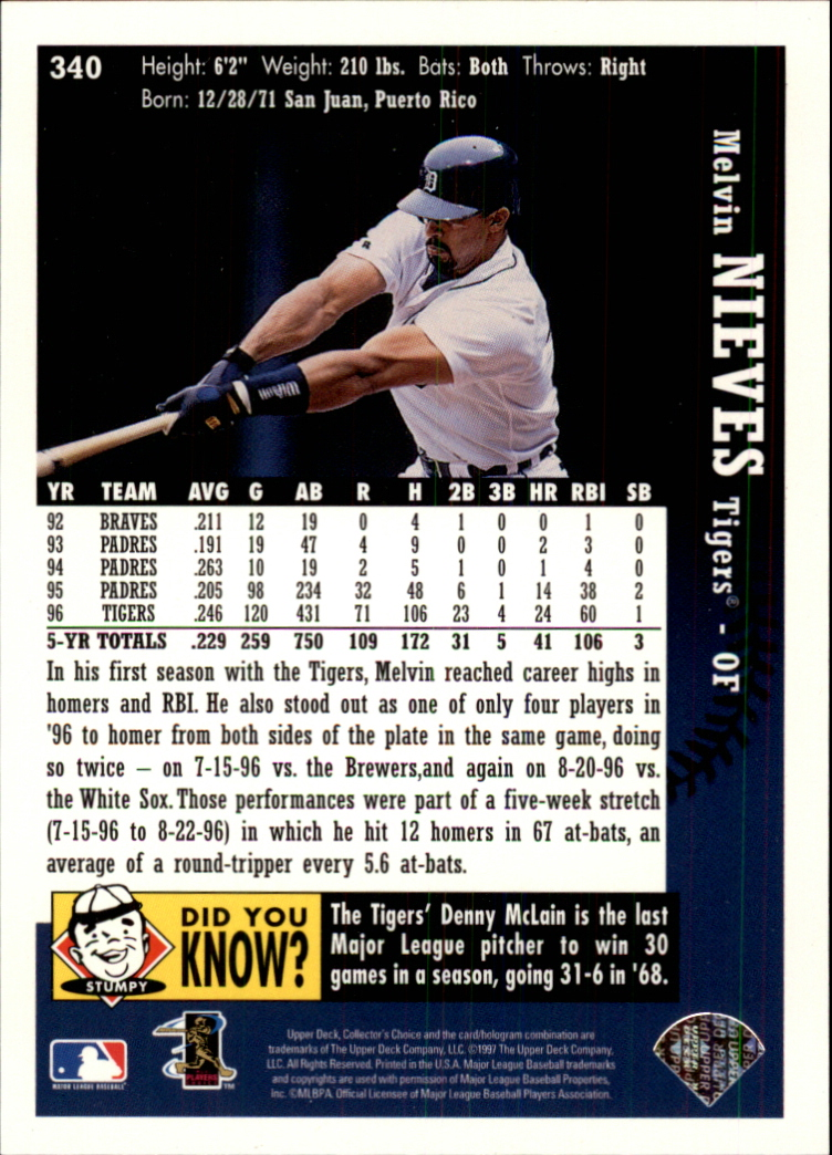 1997 Collector's Choice #340 Melvin Nieves back image