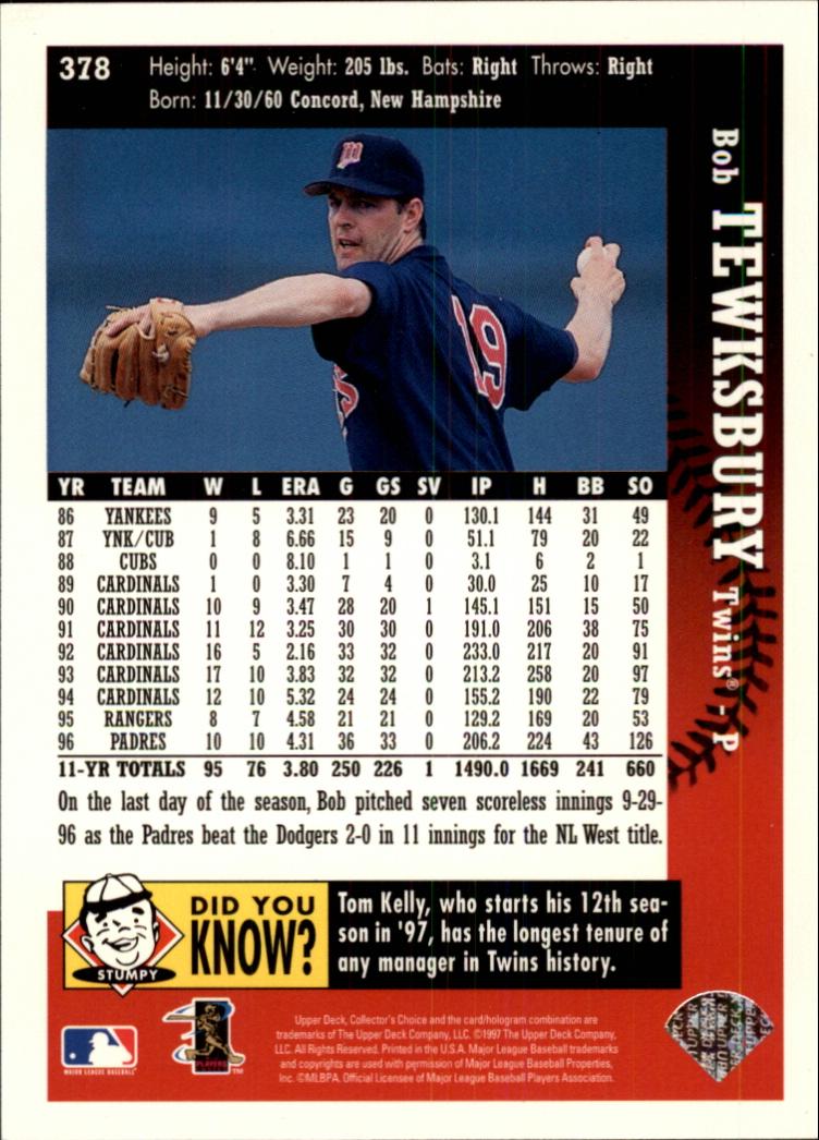1997 Collector's Choice #378 Bob Tewksbury back image