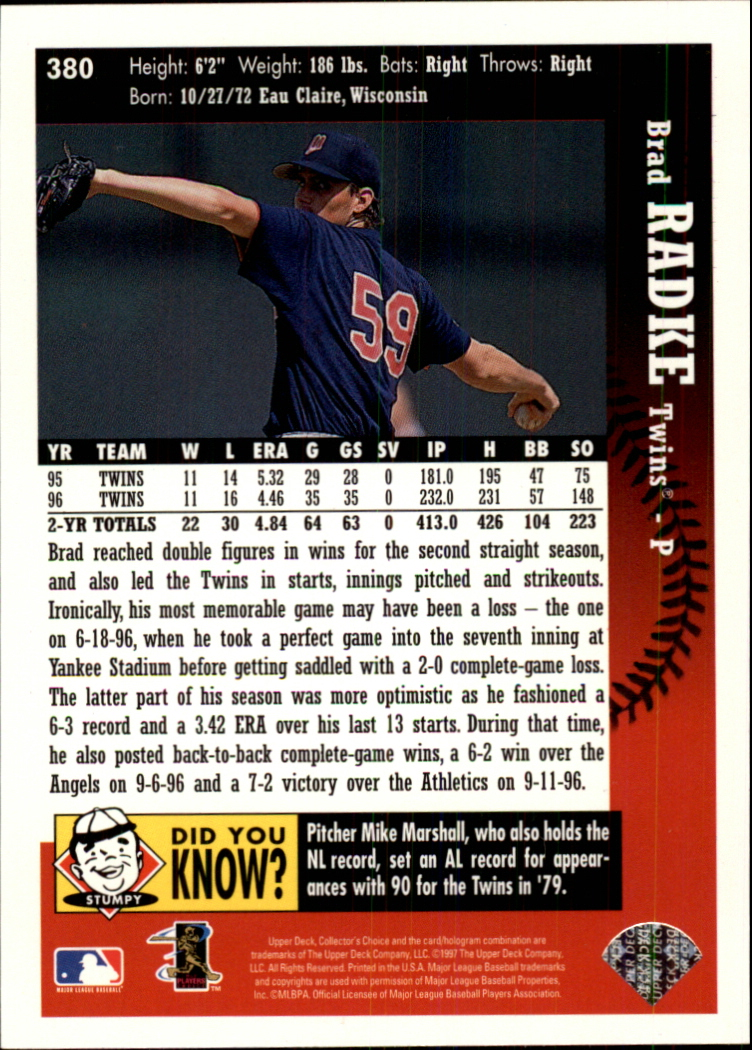 1997 Collector's Choice #380 Brad Radke back image
