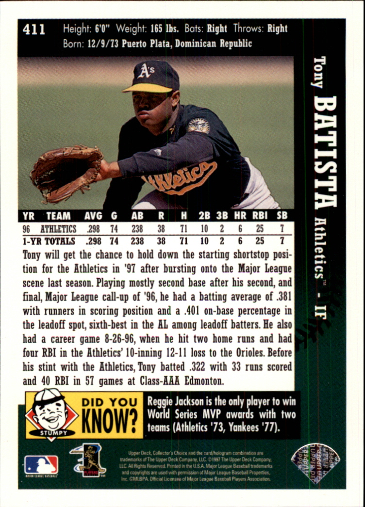 1997 Collector's Choice #411 Tony Batista back image