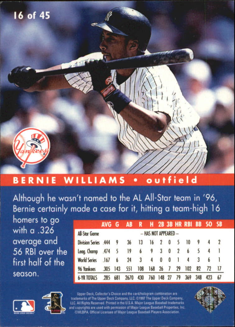1997 Collector's Choice All-Star Connection #16 Bernie Williams back image