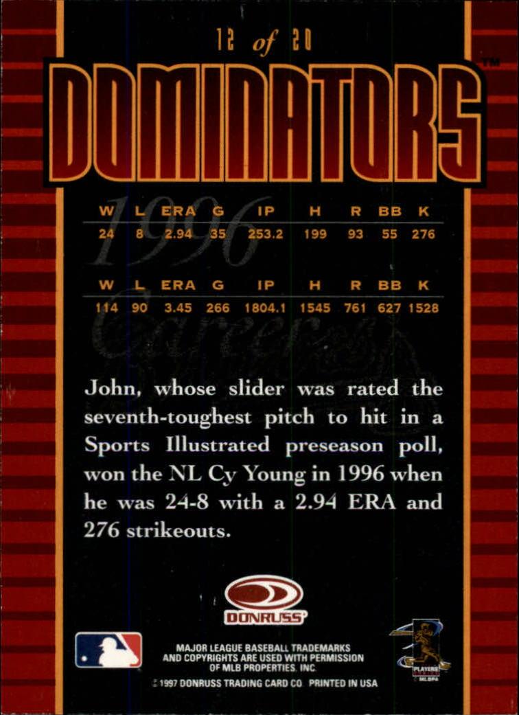 1997 Donruss Dominators #12 John Smoltz back image