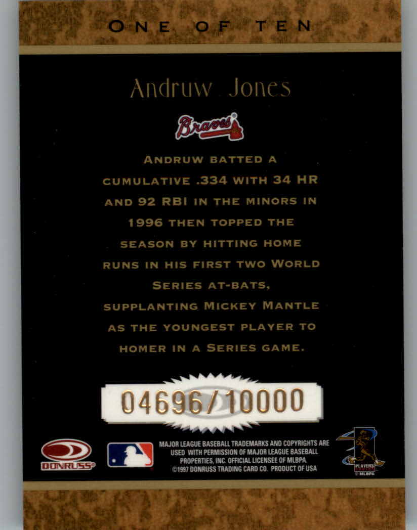 1997 Donruss Rookie Diamond Kings #1 Andruw Jones back image
