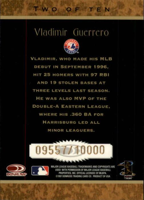 1997 Donruss Rookie Diamond Kings #2 Vladimir Guerrero back image