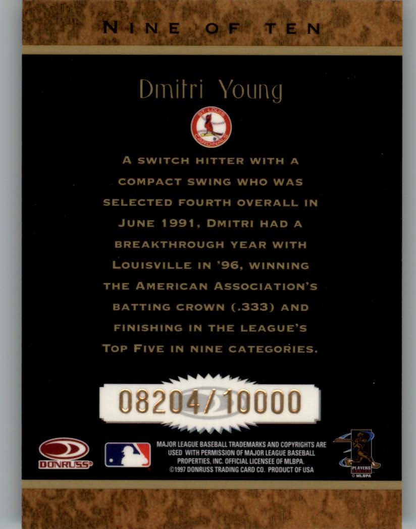 1997 Donruss Rookie Diamond Kings #9 Dmitri Young back image