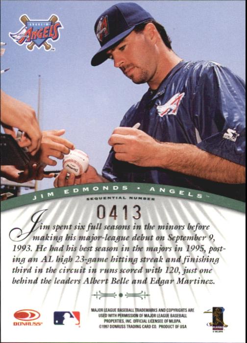 1997 Donruss Signature Autographs Millennium #37 Jim Edmonds back image