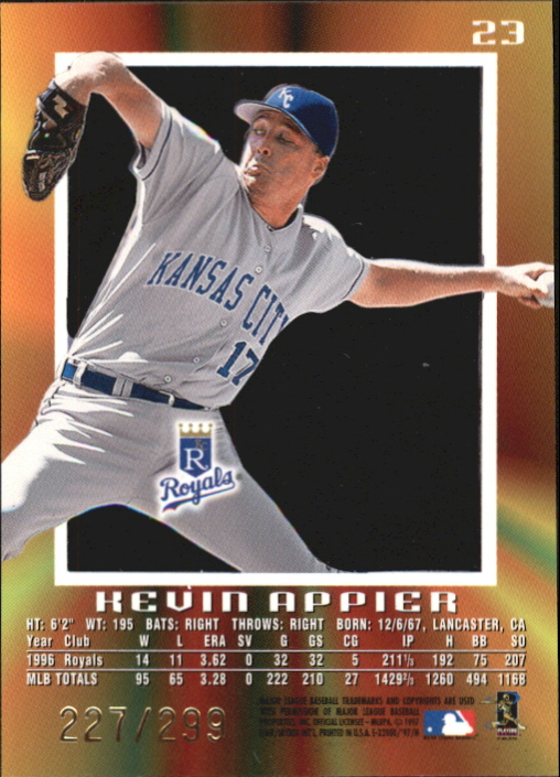 1997 E-X2000 Credentials #23 Kevin Appier back image