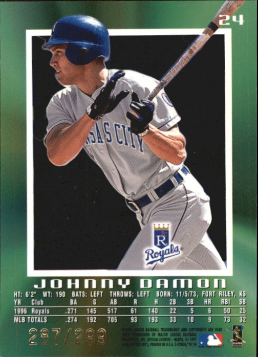 1997 E-X2000 Credentials #24 Johnny Damon back image