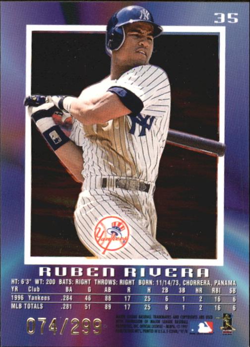 1997 E-X2000 Credentials #35 Ruben Rivera back image