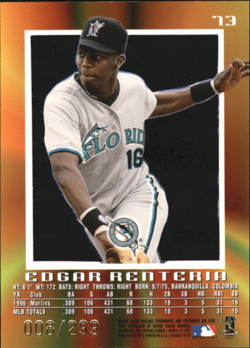 1997 E-X2000 Credentials #73 Edgar Renteria back image