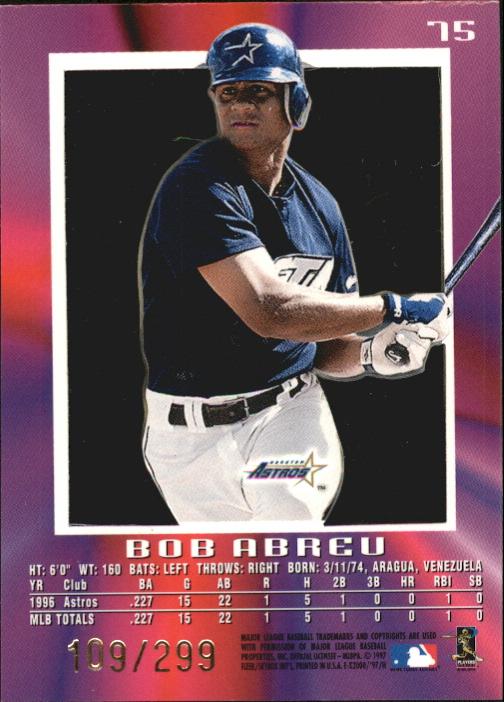 1997 E-X2000 Credentials #75 Bob Abreu back image