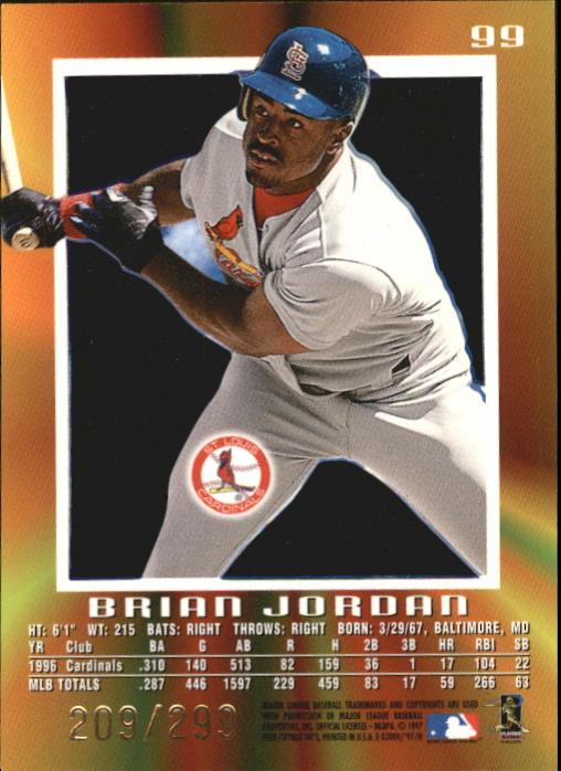 1997 E-X2000 Credentials #99 Brian Jordan back image