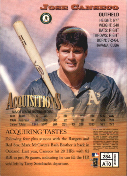 1997 Finest Embossed #284 Jose Canseco S back image