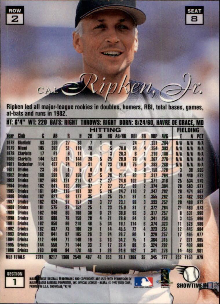 1997 Flair Showcase Row 2 #8 Cal Ripken back image