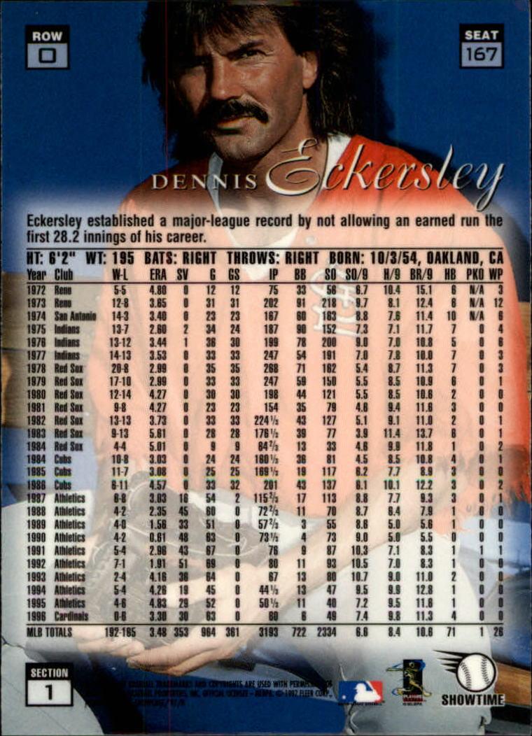 1997 Flair Showcase Row 0 #167 Dennis Eckersley back image