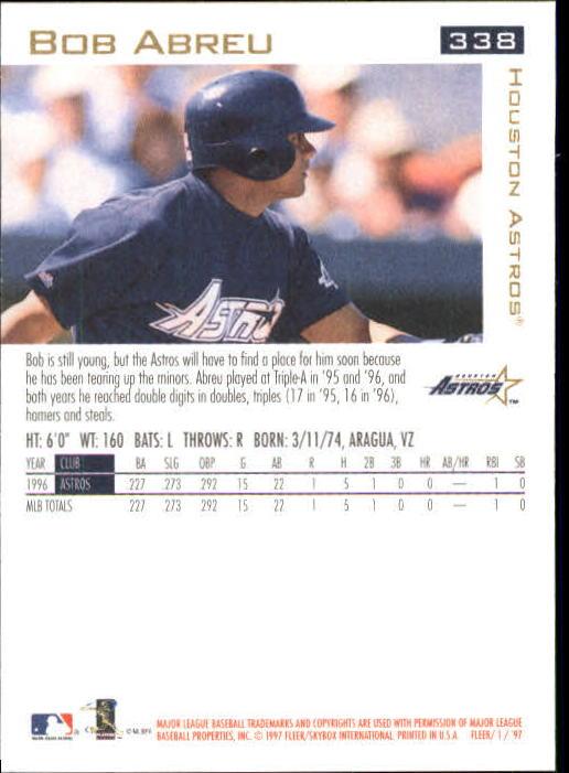 1997 Fleer #338 Bob Abreu back image