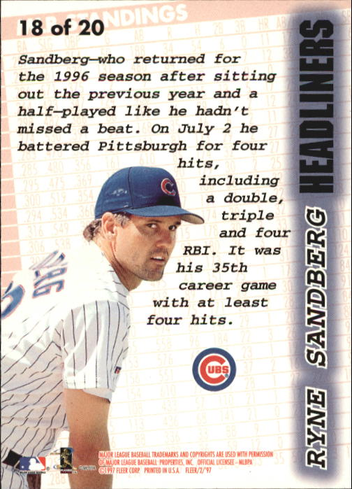 1997 Fleer Headliners #18 Ryne Sandberg back image