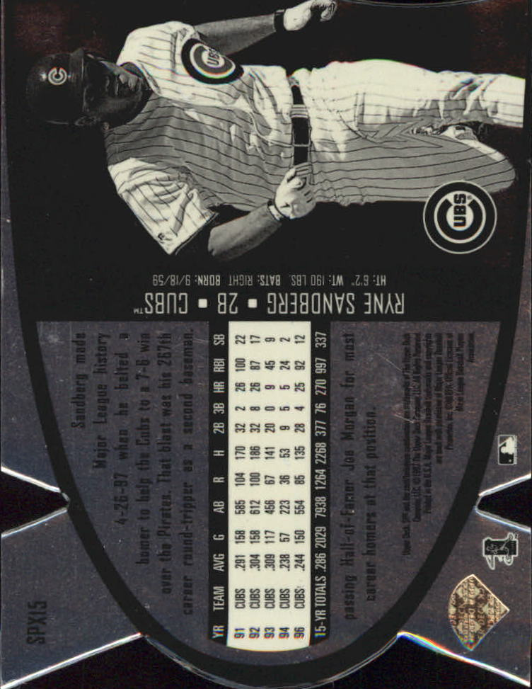 1997 SPx Steel #15 Ryne Sandberg back image
