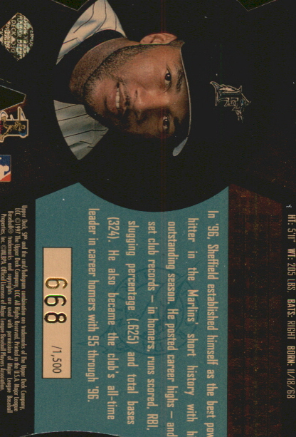 1997 SPx Bound for Glory #10 Gary Sheffield back image