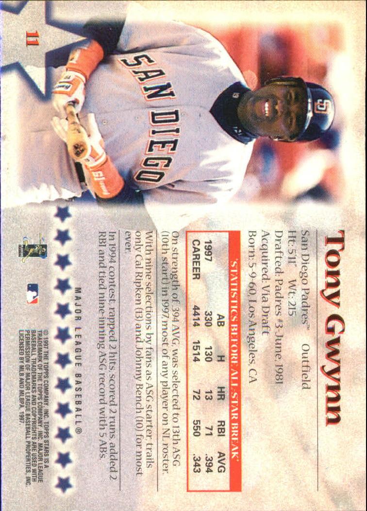 1997 Topps Stars #11 Tony Gwynn back image