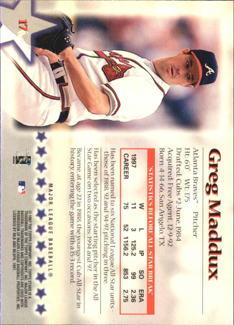 1997 Topps Stars #17 Greg Maddux back image