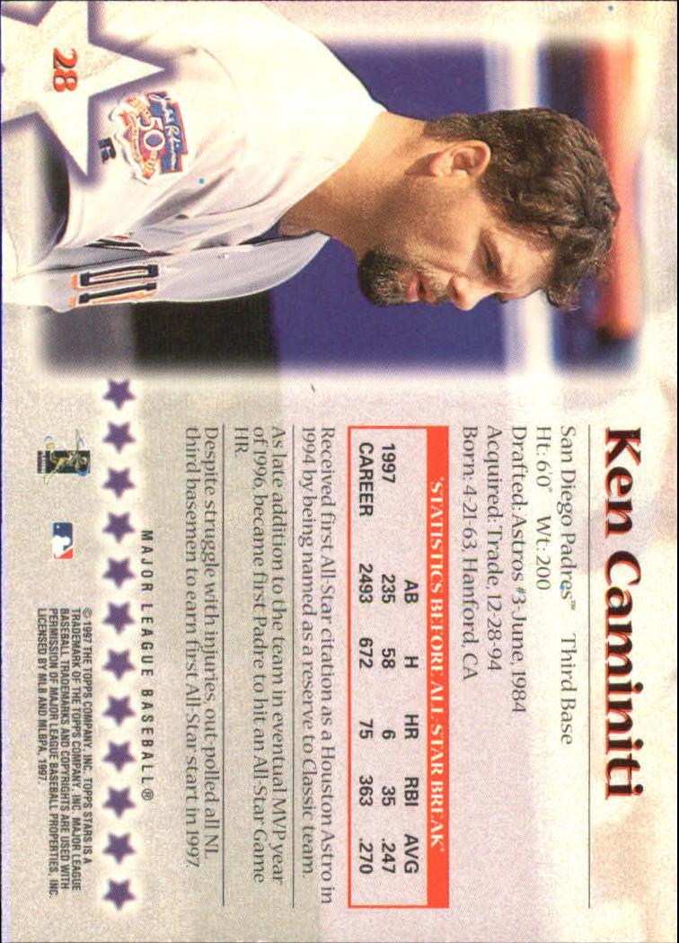 1997 Topps Stars #28 Ken Caminiti back image