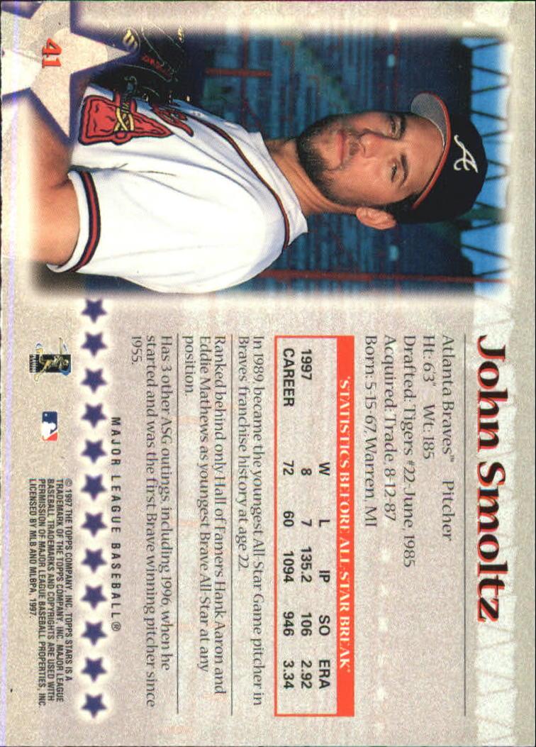 1997 Topps Stars #41 John Smoltz back image