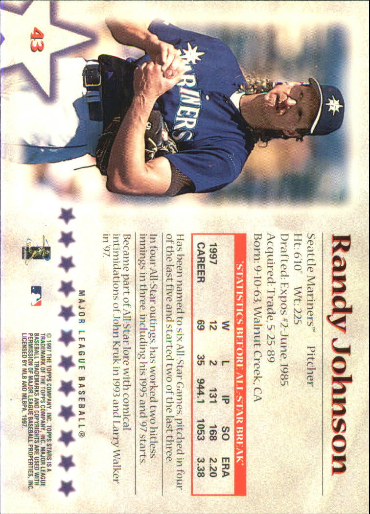 1997 Topps Stars #43 Randy Johnson back image