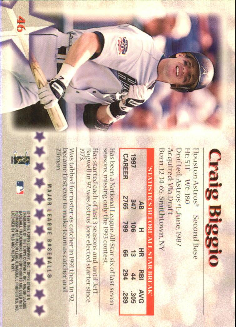 1997 Topps Stars #46 Craig Biggio back image