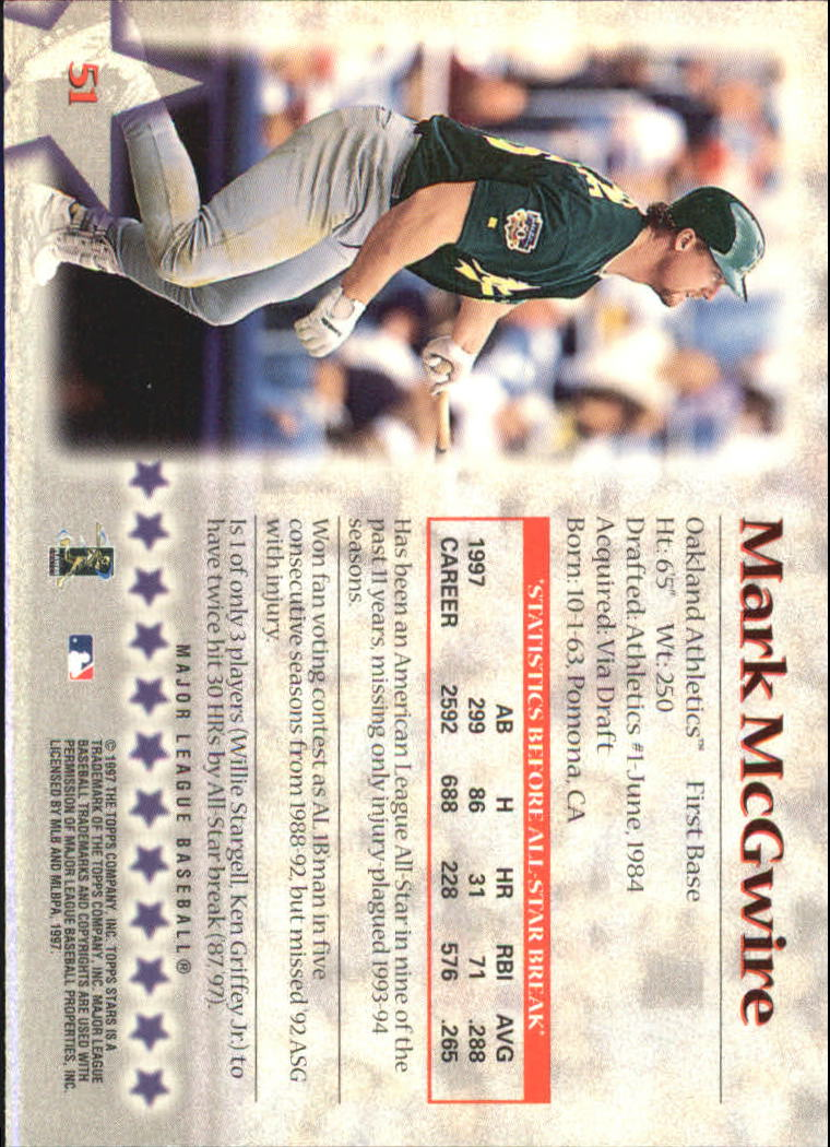 1997 Topps Stars #51 Mark McGwire back image