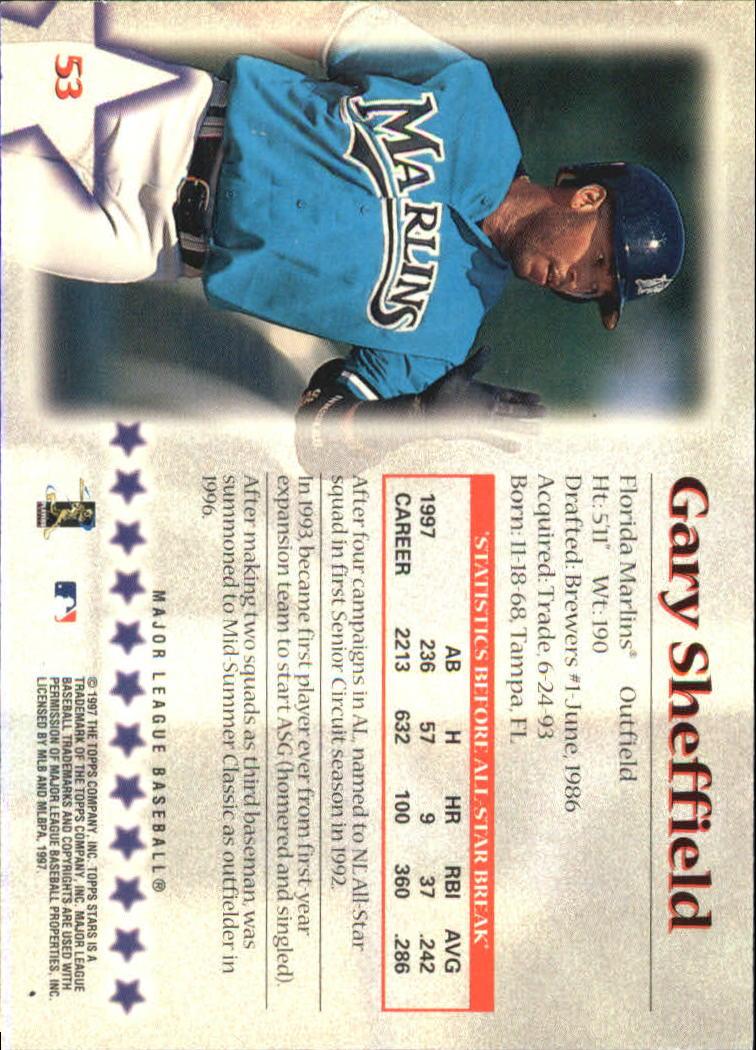 1997 Topps Stars #53 Gary Sheffield back image