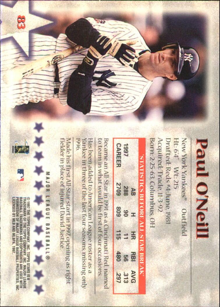 1997 Topps Stars #83 Paul O'Neill back image