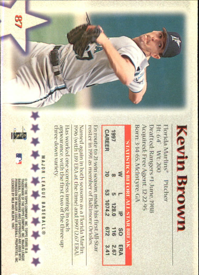 1997 Topps Stars #87 Kevin Brown back image