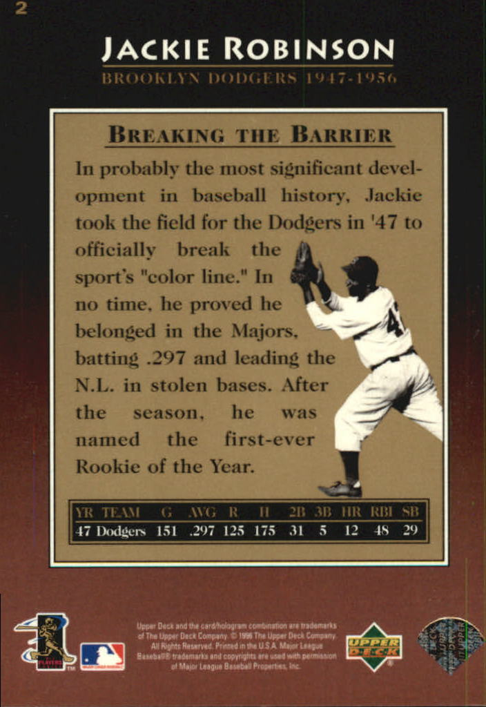 1997 Upper Deck #2 Jackie Robinson back image